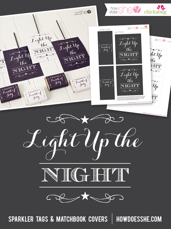 4th of July sparkler and matchbook printables. FREE!