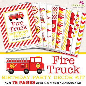 Awesome fire truck party printable decor collection from #Chickabug! 75+ pages of personalized designs!