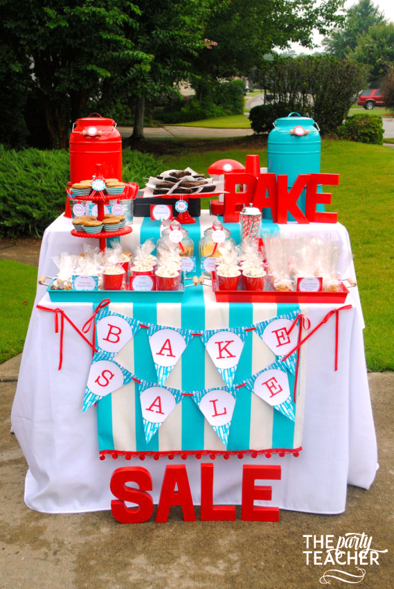 Adorable bake sale setup!