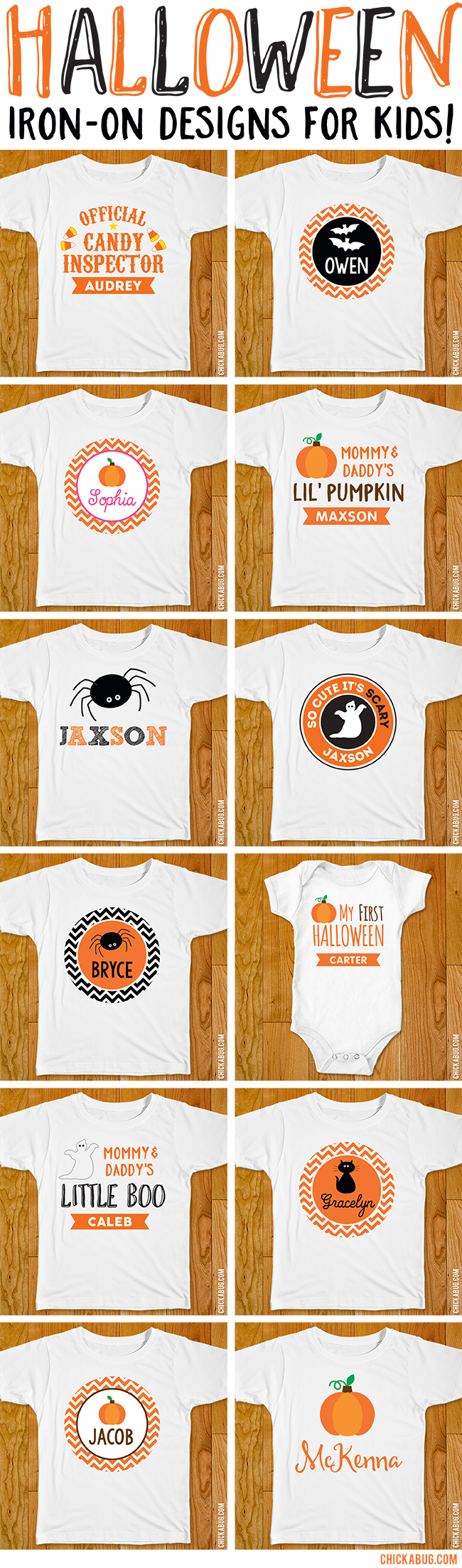 Halloween iron-on designs for kids. Make special Halloween shirts with these super cute personalized designs!