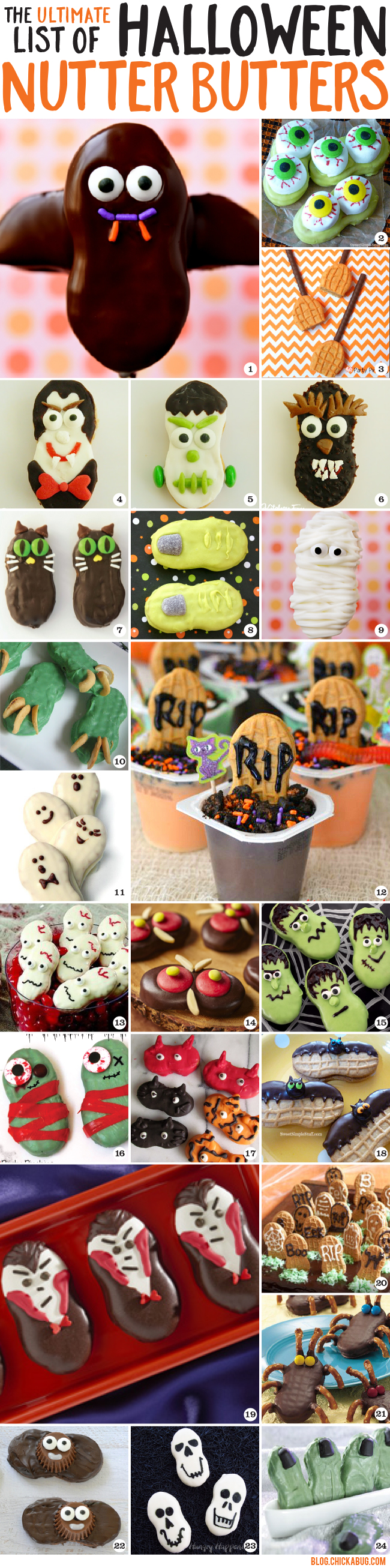 The ultimate list of Halloween Nutter Butters! Awesome Halloween cookie decorating ideas that all start with a simple Nutter Butter. LOVE!
