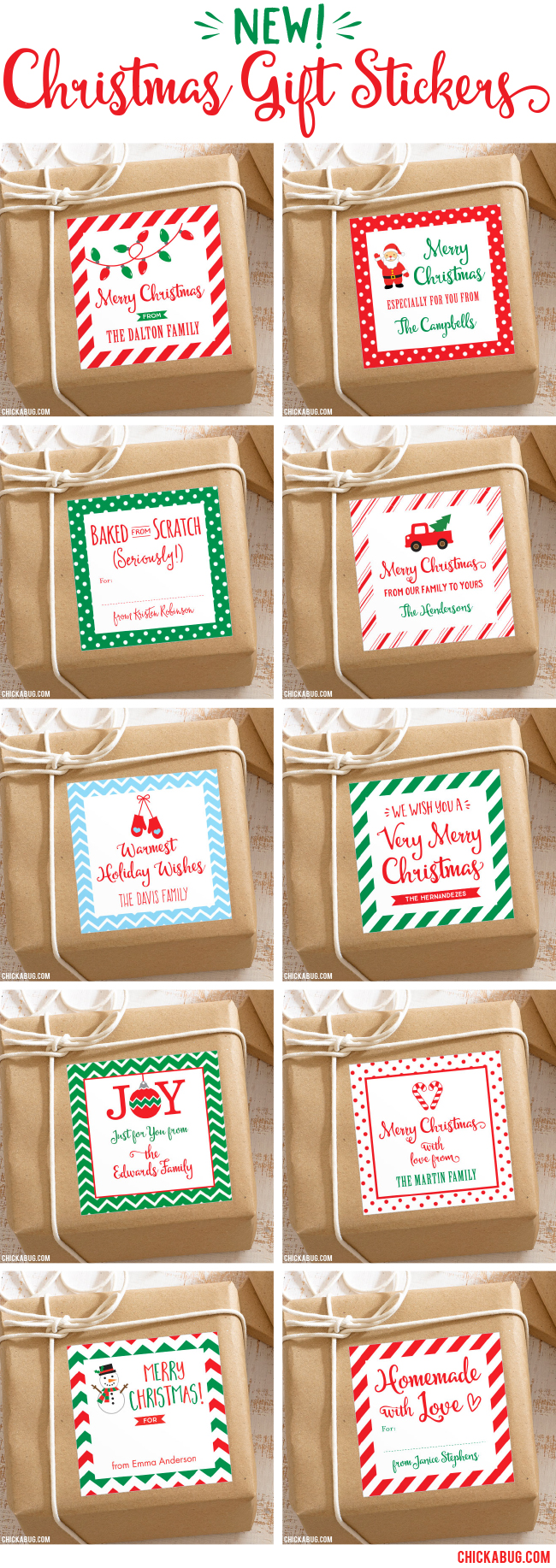 Personalized Christmas gift stickers, now available at Chickabug. They make your Christmas presents extra pretty, and there's no way for the tag to fall off!