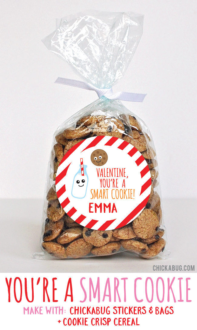 Adorable Valentine's gifts! Super cute for kids to hand out at class. All you need are stickers and bags from #Chickabug plus Cookie Crisp. EASY!