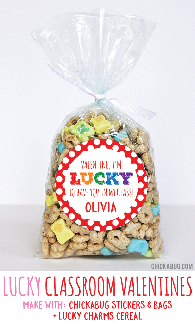 Adorable Valentine's gifts! Super cute for kids to hand out at class. All you need are stickers and bags from #Chickabug plus Lucky Charms. EASY!