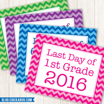 *Updated for 2016!* Free printable last day of school signs. EVERY grade in FOUR colors!