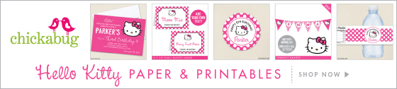 Hello Kitty party paper goods & printables. Personalized invitations, stickers, water labels, instant download printables & more