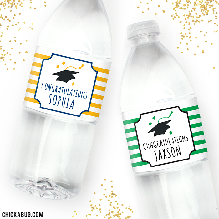 Custom Graduation Water Labels. Choose your own colors to match your school!