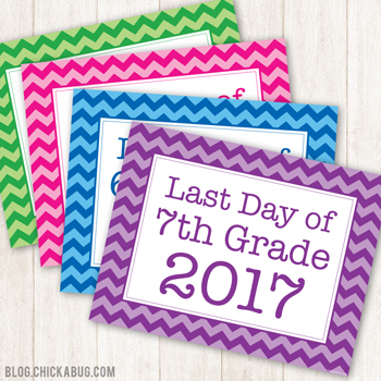 Free printable last day of school signs - great photo op!!