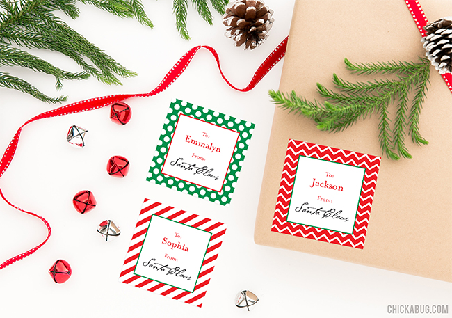 """Don't risk your kids recognizing Mom and Dad's handwriting on the """"from Santa"""" packages under your Christmas tree - use these stickers to label their presents instead! They're addressed to your child and signed by Santa himself."""