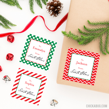 "Don't risk your kids recognizing Mom and Dad's handwriting on the ""from Santa"" packages under your Christmas tree - use these stickers to label their presents instead! They're addressed to your child and signed by Santa himself."