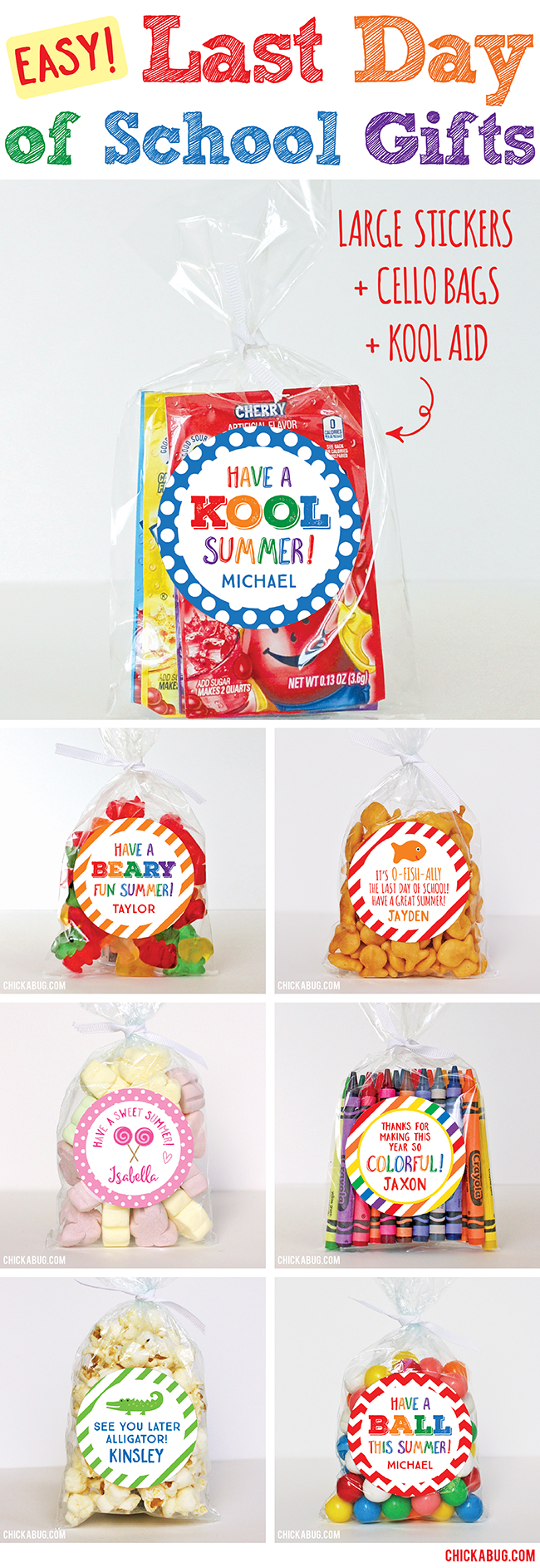 Easy gifts for the last day of school! Personalized stickers & treat bags