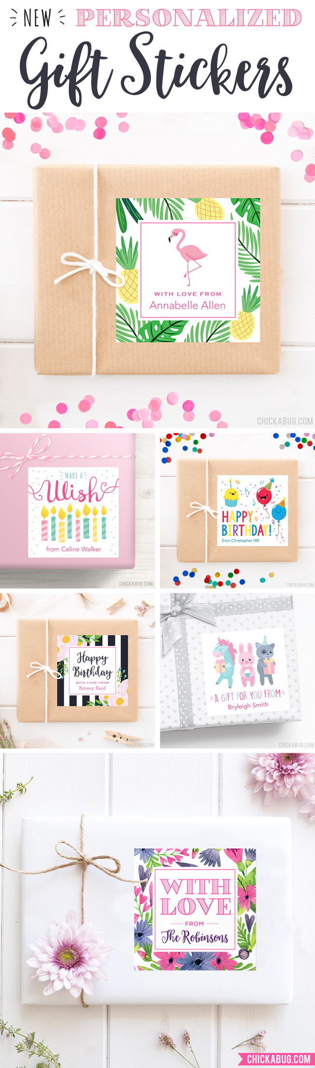 Gift stickers from Chickabug - make your gifts personalized and pretty!