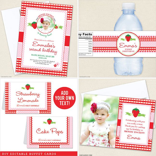 Strawberry Birthday Party from Chickabug!
