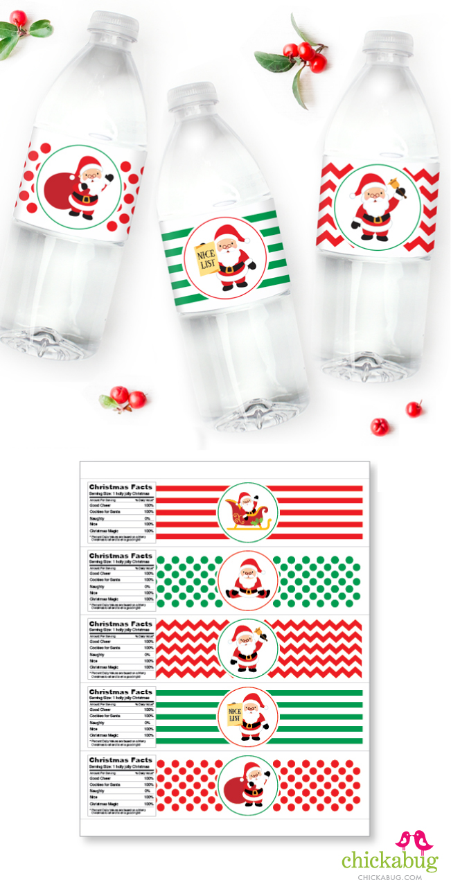 Christmas water labels from Chickabug. Printed-and-shipped or INSTANT DOWNLOAD printable file!