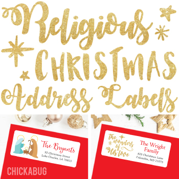 New! Religious Christmas address labels