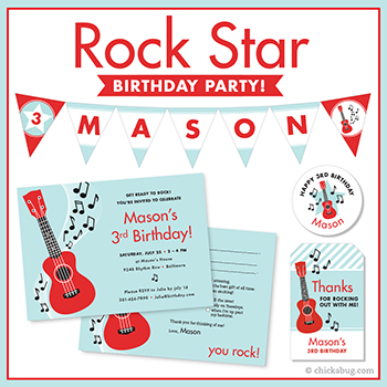 Rock star theme invitations, stickers, water bottle labels, party printables & more from Chickabug!