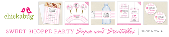 Sweet Shoppe theme party paper goods & printables from Chickabug