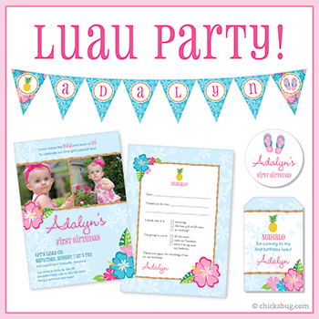 Luau theme invitations, stickers, water bottle labels, party printables & more from Chickabug!