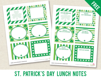 FREE printable St. Patrick's Day school lunch notes from Chickabug