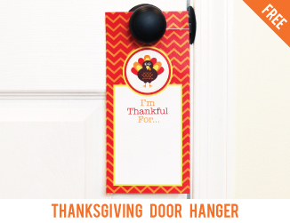 FREE printable Thanksgiving door hanger - a cute way for kids to count their blessings!