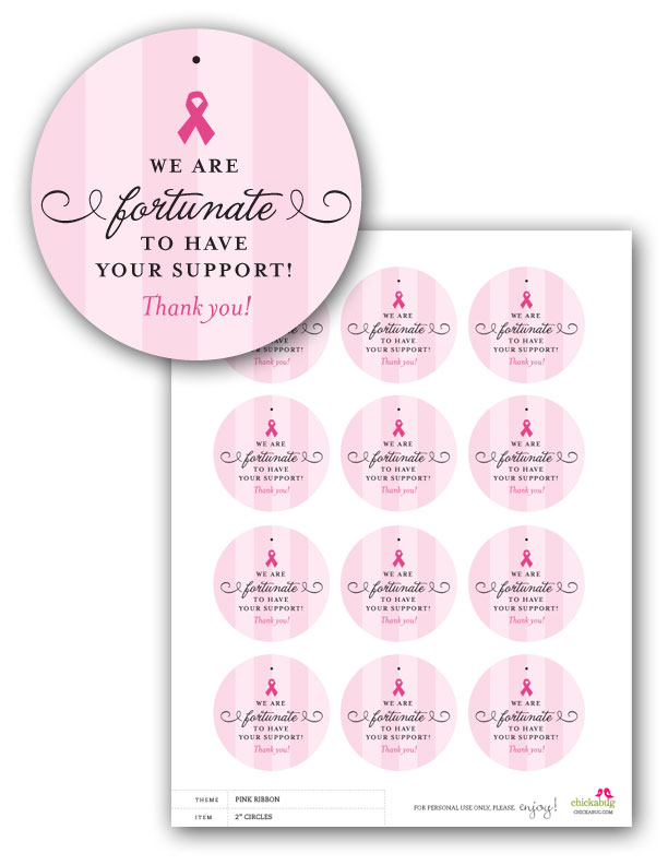 FREE! Printable pink ribbon favor tag for breast cancer awareness