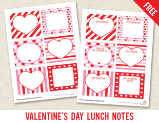 Free printable Valentine's Day school lunch notes