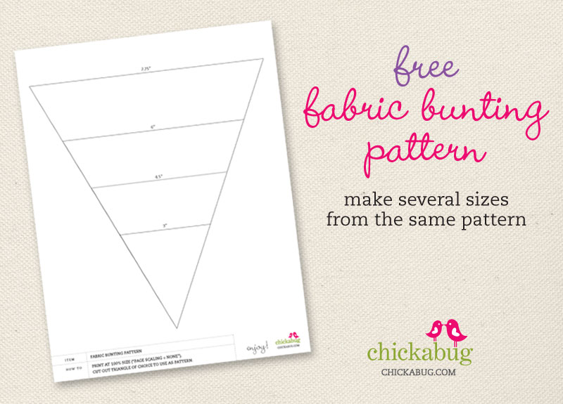 Free fabric bunting pattern from Chickabug