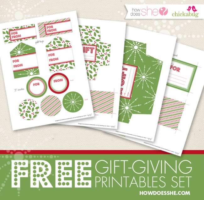 Free gift-giving printables set from HowDoesShe.com
