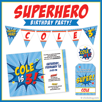 Superhero theme invitations, stickers, water bottle labels, party printables & more from Chickabug!