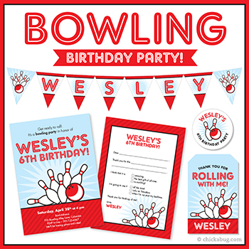 Bowling theme party! Invitations, water labels, stickers, iron-on shirt designs, DIY party printables and lots more from Chickabug.com