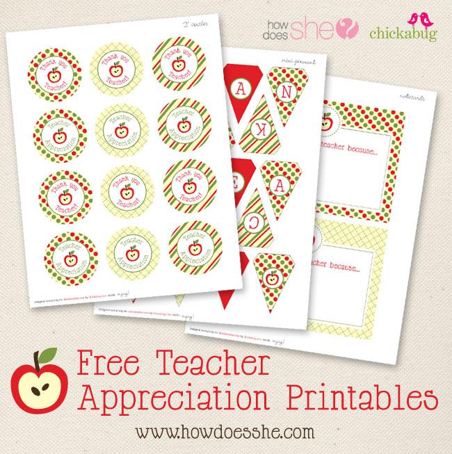 FREE! Teacher Appreciation Printables | Chickabug