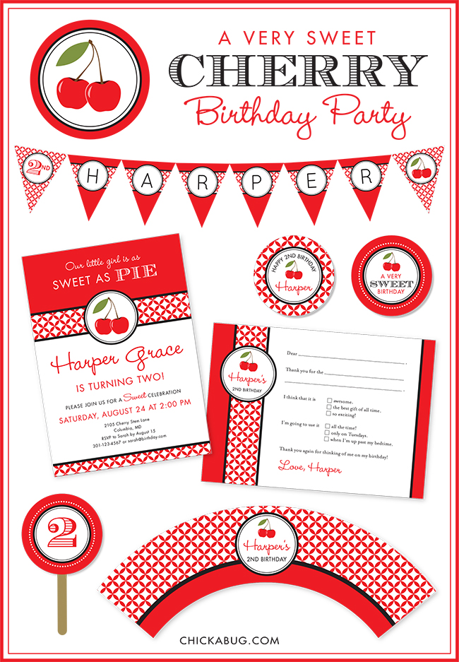 Cherry theme paper goods and party printables at Chickabug.com