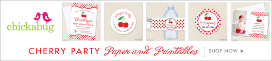 Chickabug cherry party theme paper goods & printables