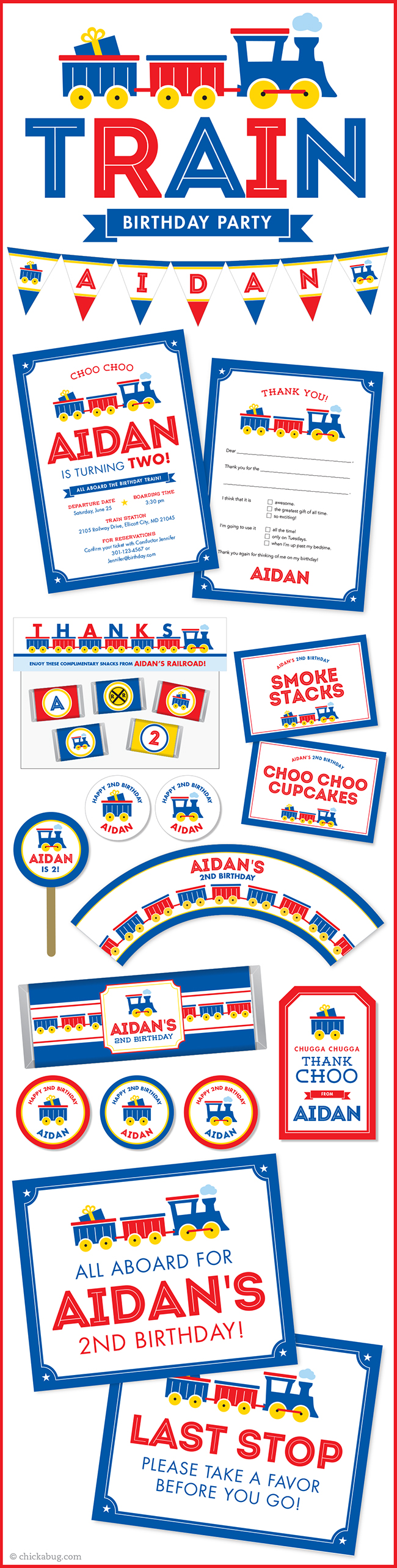 Train theme birthday party paper goods & printables from Chickabug.com