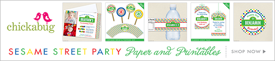 Sesame Street theme party paper goods & printables from Chickabug