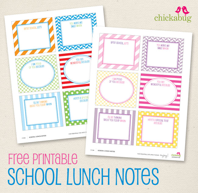 picture relating to Printable Lunch Notes identify Free of charge printable faculty lunch notes Chickabug