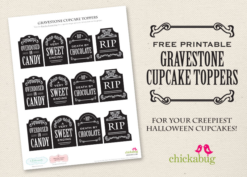 picture relating to Tombstone Printable named Absolutely free printable gravestone cupcake toppers Chickabug