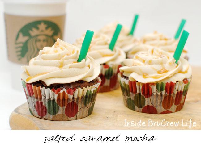Starbucks cupcake recipes - salted caramel mocha cupcakes