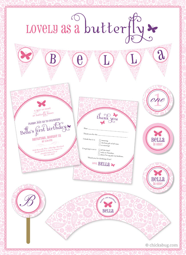 Butterfly party paper goods & printables at Chickabug.com