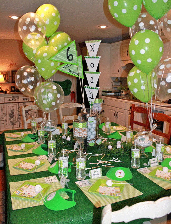 The Kitchen Table Is Dressed To Nines With Golf Goodies Each Guest Received A Green Visor Thats Decorated Custom Sticker Bottle Of Water