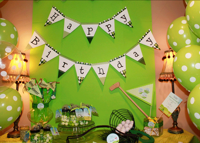 So Of Course A Golf Party Was Perfect Theme For Noah And His Family Danielle Went All Out With Decorations Details Balls Tees Pennants