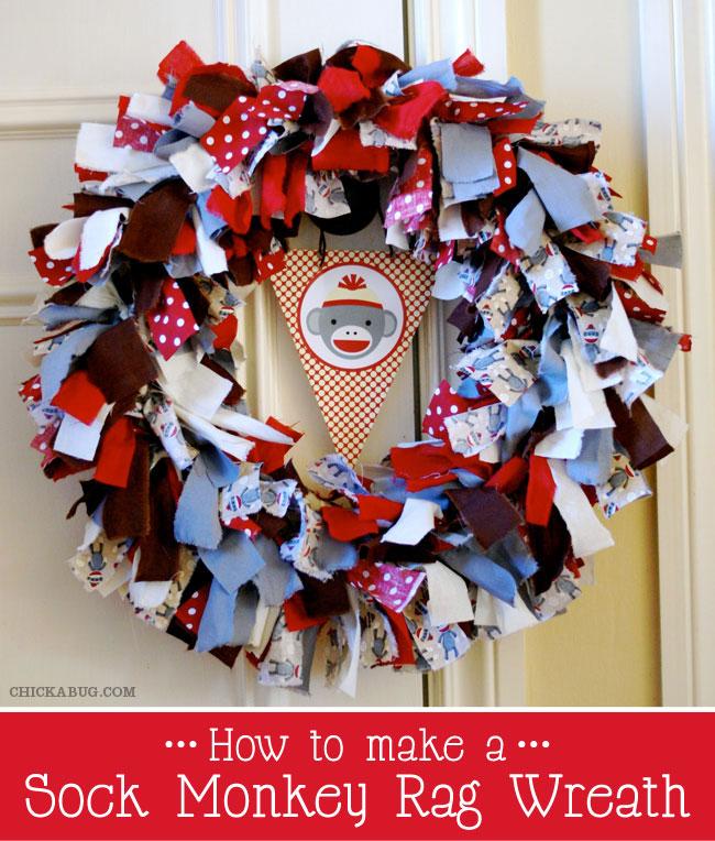How to make a sock monkey rag wreath