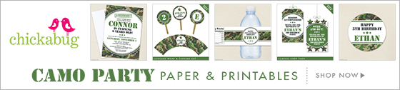 Army or Camo theme party paper goods & printables from Chickabug
