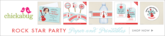 Rock star theme party paper goods & printables from Chickabug