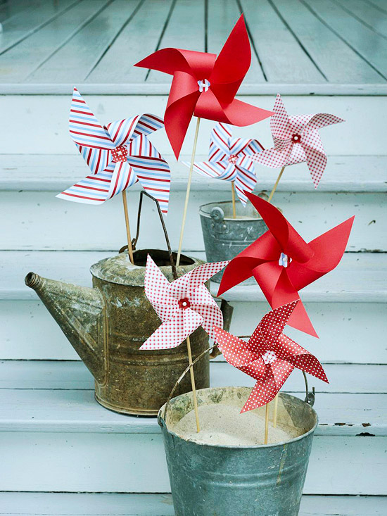 Pinwheels in rustic containers