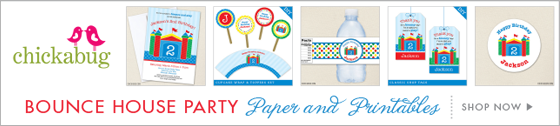 Bounce House theme party paper goods and printables from Chickabug - www.chickabug.com