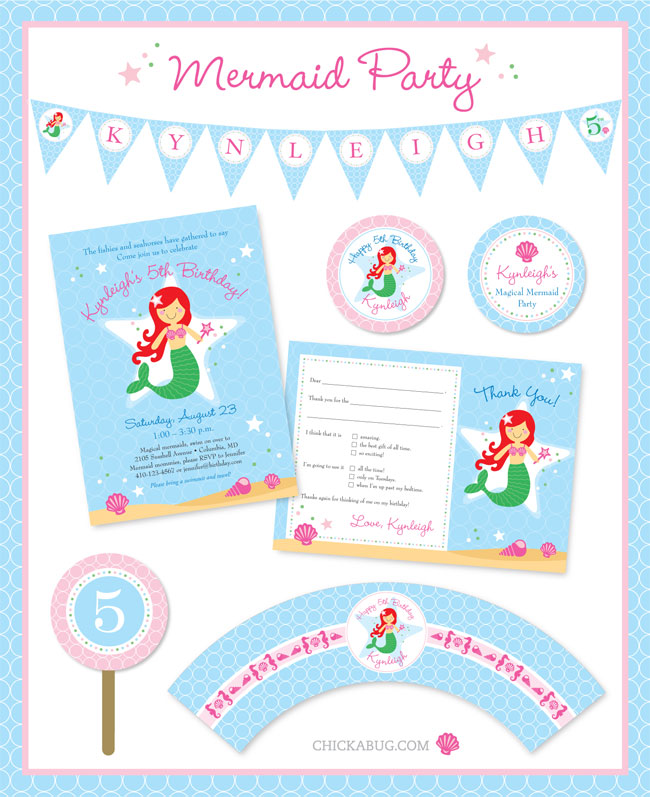 Mermaid party theme from Chickabug - you can choose your own mermaid to match your daughter!