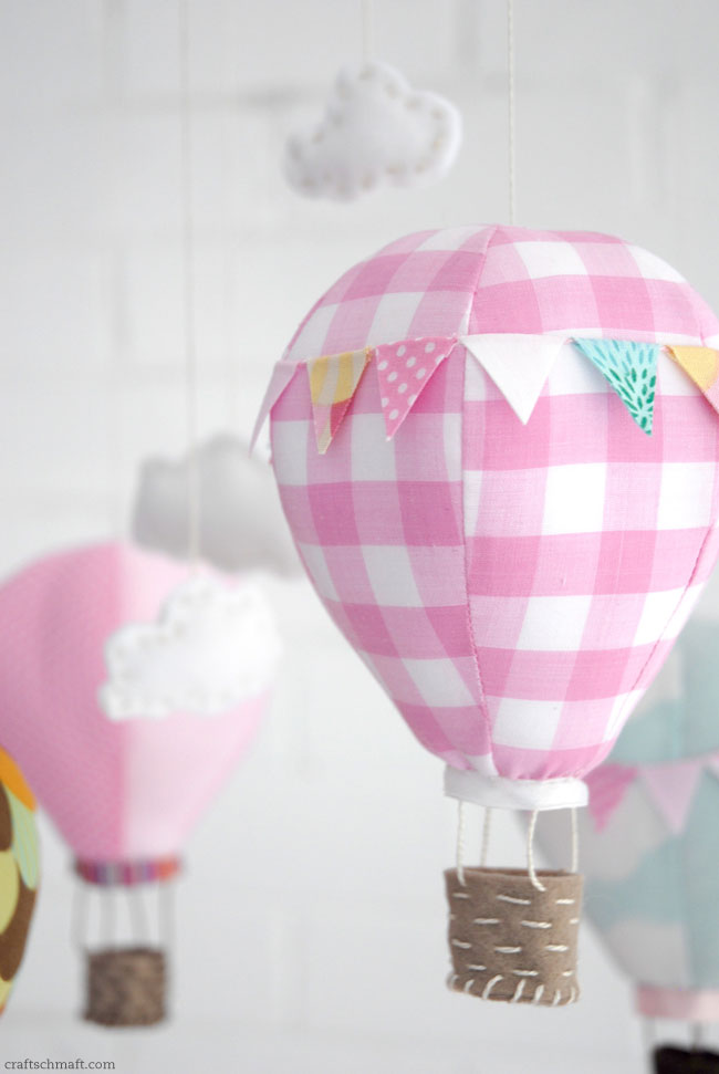 Hot air balloon mobile - sewing pattern available for sale