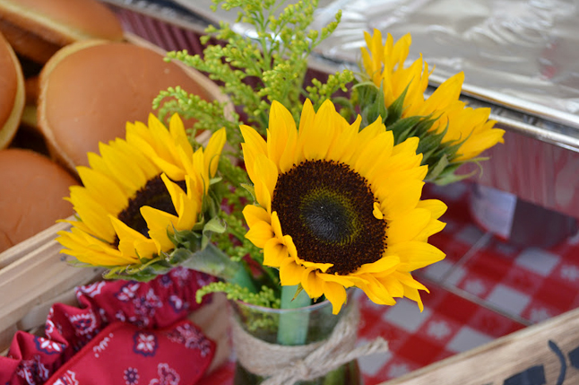 Country western cowgirl party - sunflower centerpieces
