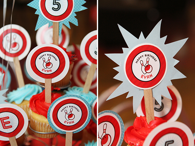 Bowling birthday party - printable cupcake toppers from Chickabug